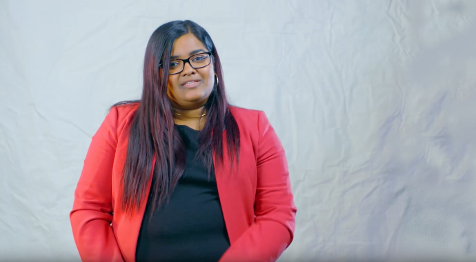 A screenshot of Khayshie from her video speaking about what gender equity means
