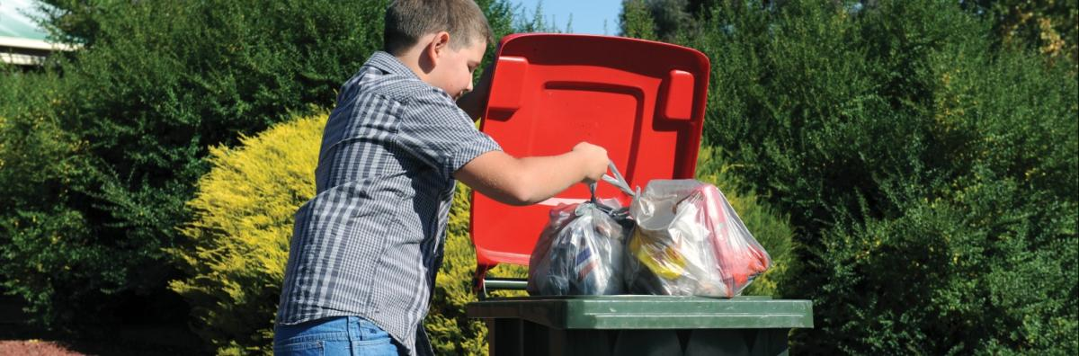 Boy putting garbage bags in the bin