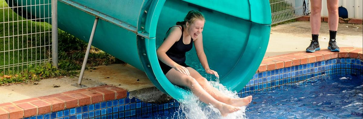Girl on Water Slide at Aquatic Centre