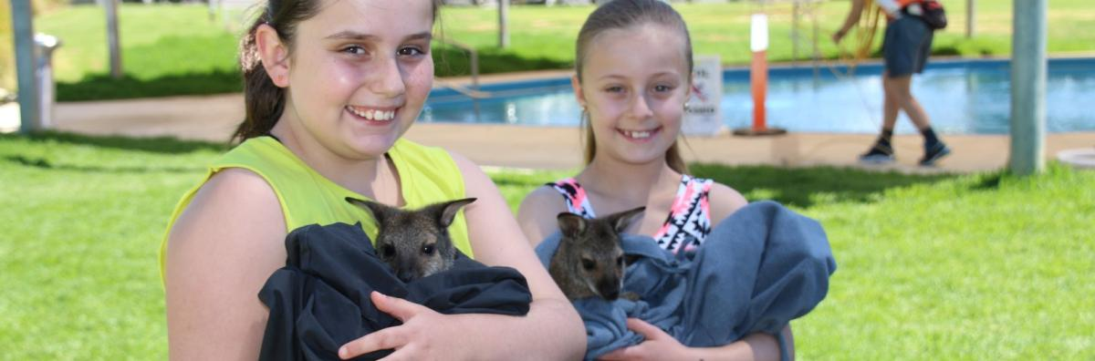Girls with Wallabies