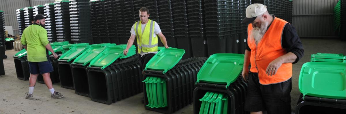Organics bins being organised for distribution