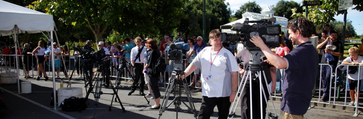 Media filming at a Formula 1 event
