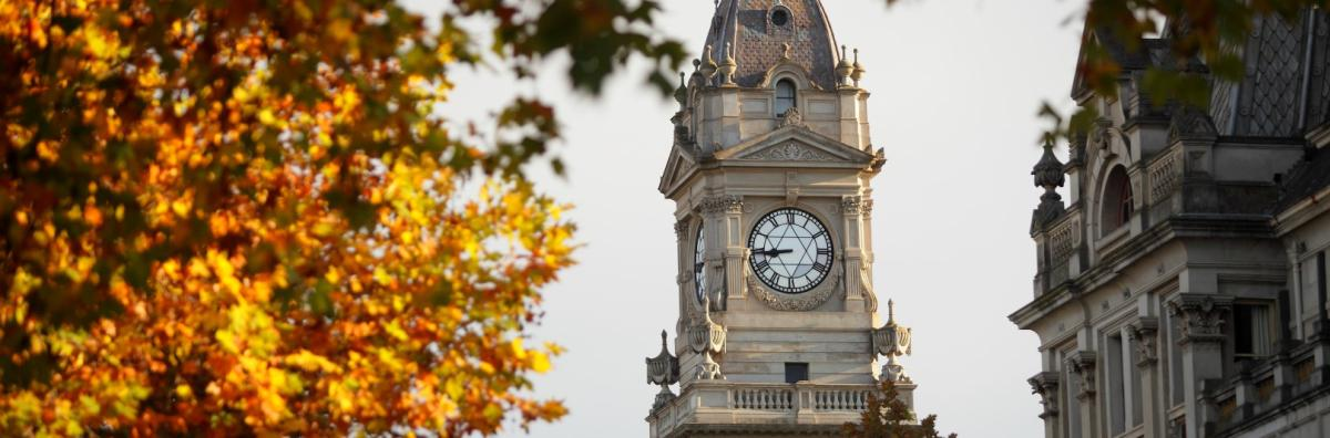 Town Hall clock surrounded by Autumn leaves