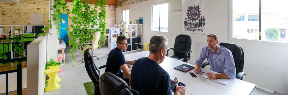 Meeting being held in Possumworks co-working space