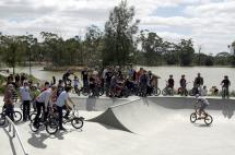 McKern Skate Park with Lake in background