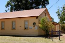 The Sailor's Gully Hall is a weatherboard community building with a wooden floor,frequently used by dance groups and the Eaglehawk Lion's Club.